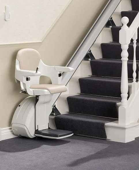 HomeGlide ThyssenKrupp Straight Stairlift from 1st Choice Stairlifts ready for use