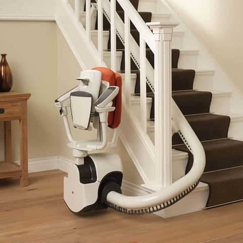 Flow Curved Stairlift from 1st Choice Stairlifts parked folded