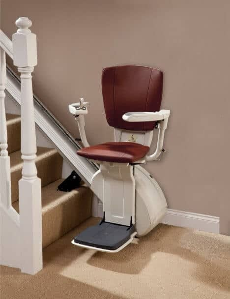 HomeGlide Extra Straight Stairlift from 1st Choice Stairlifts in Brown upholstery