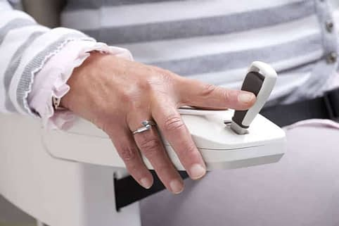HomeGlide Straight Stairlift from 1st Choice Stairlifts joystick control