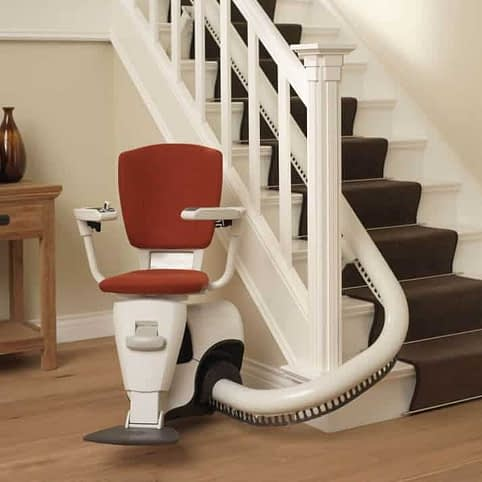 Flow Curved Stairlift from 1st Choice Stairlifts ready for use