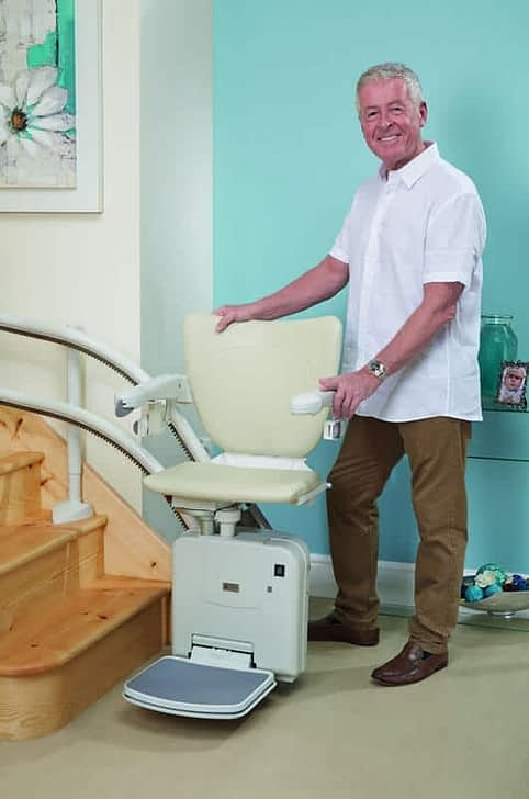 beige stairlift in home