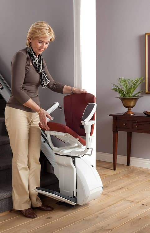HomeGlide Extra straight stairlift folding up