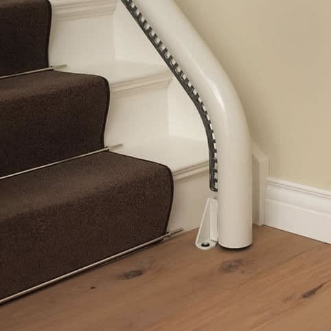Flow Curved Stairlift from 1st Choice Stairlifts drop nose rail start
