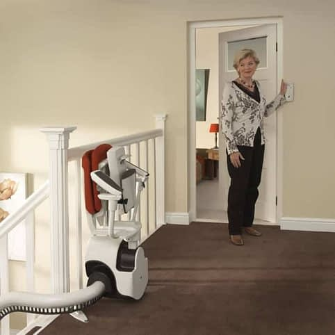 Flow Curved Stairlift from 1st Choice Stairlifts folded up ready for use