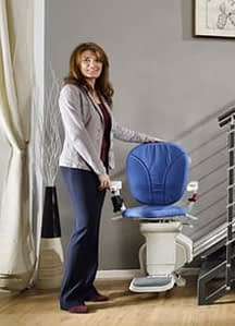 blue stairlift in a gloucestershire home