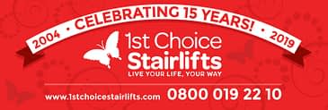 1st Choice Stairlifts 15th Anniversary banner