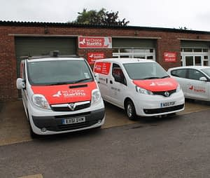 vans outside offices and showroom
